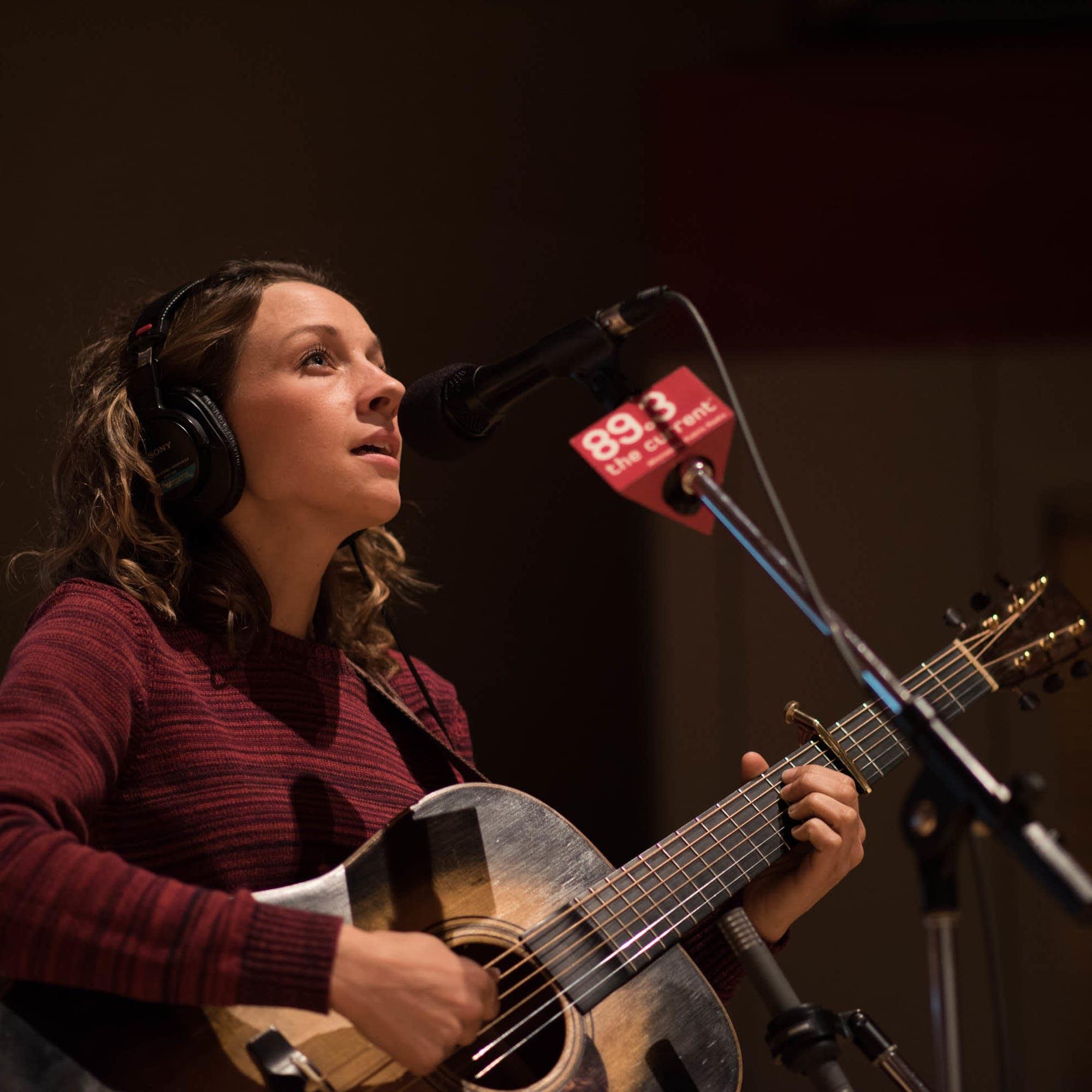 Emily Frantz of Mandolin Orange in studio