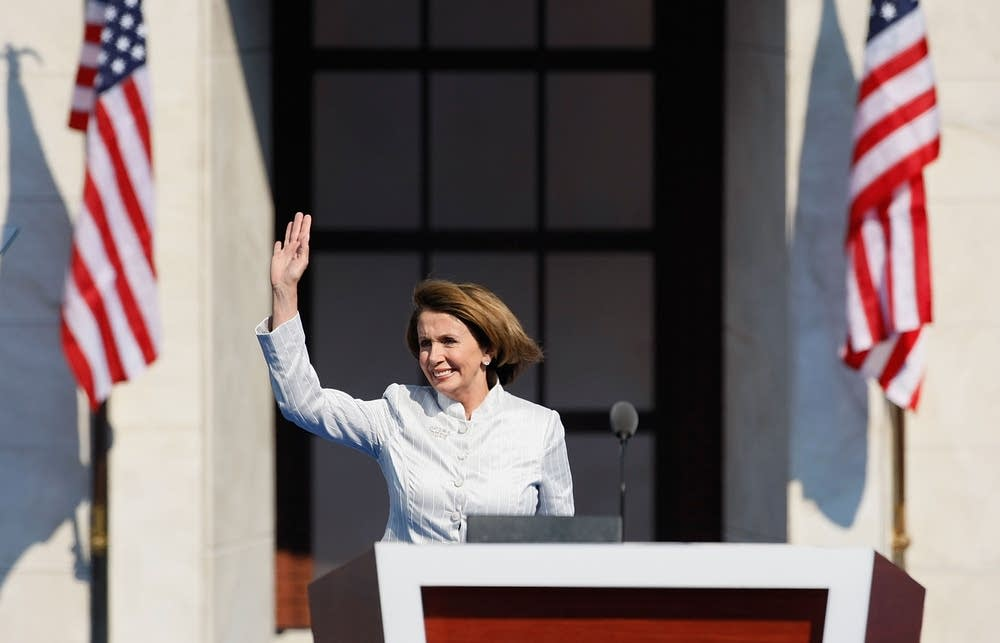 Nancy Pelosi takes the stage at Invesco Field