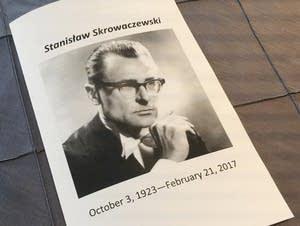 The program for Tuesday's memorial service for Stanislaw Skrowaczewski.