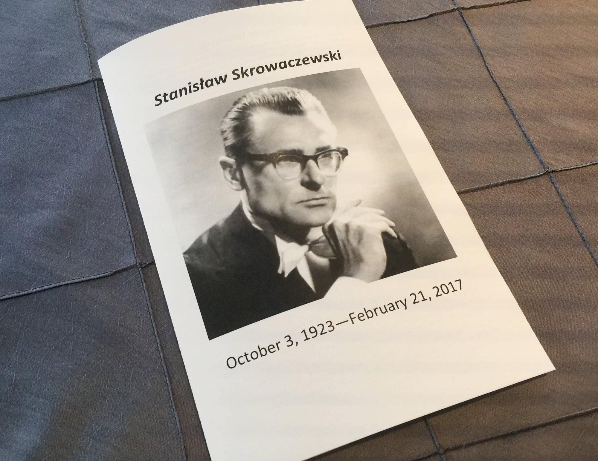 Program for the memorial service for Stanislaw Skrowaczewski