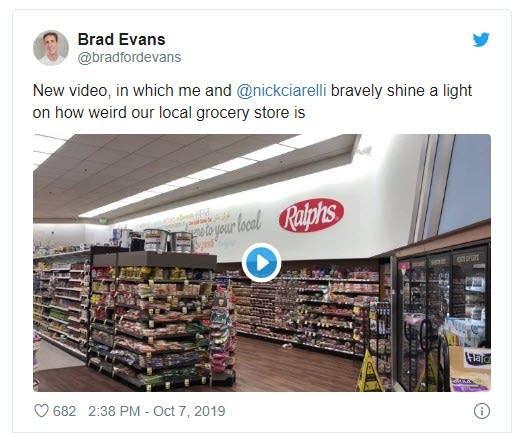 Screencap of tweet featuring a grocery store radio skit by Brad Evans