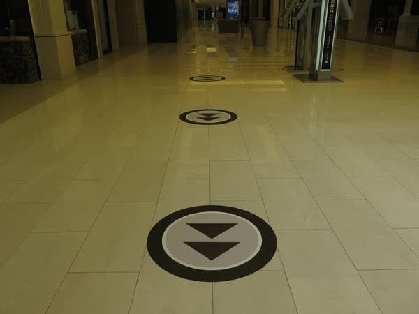 Arrows on the Mall of America's floor to encourage social distancing.