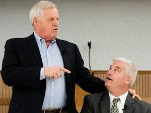 Rep. Colin Peterson, left, and Rep. Tom Emmer tell jokes