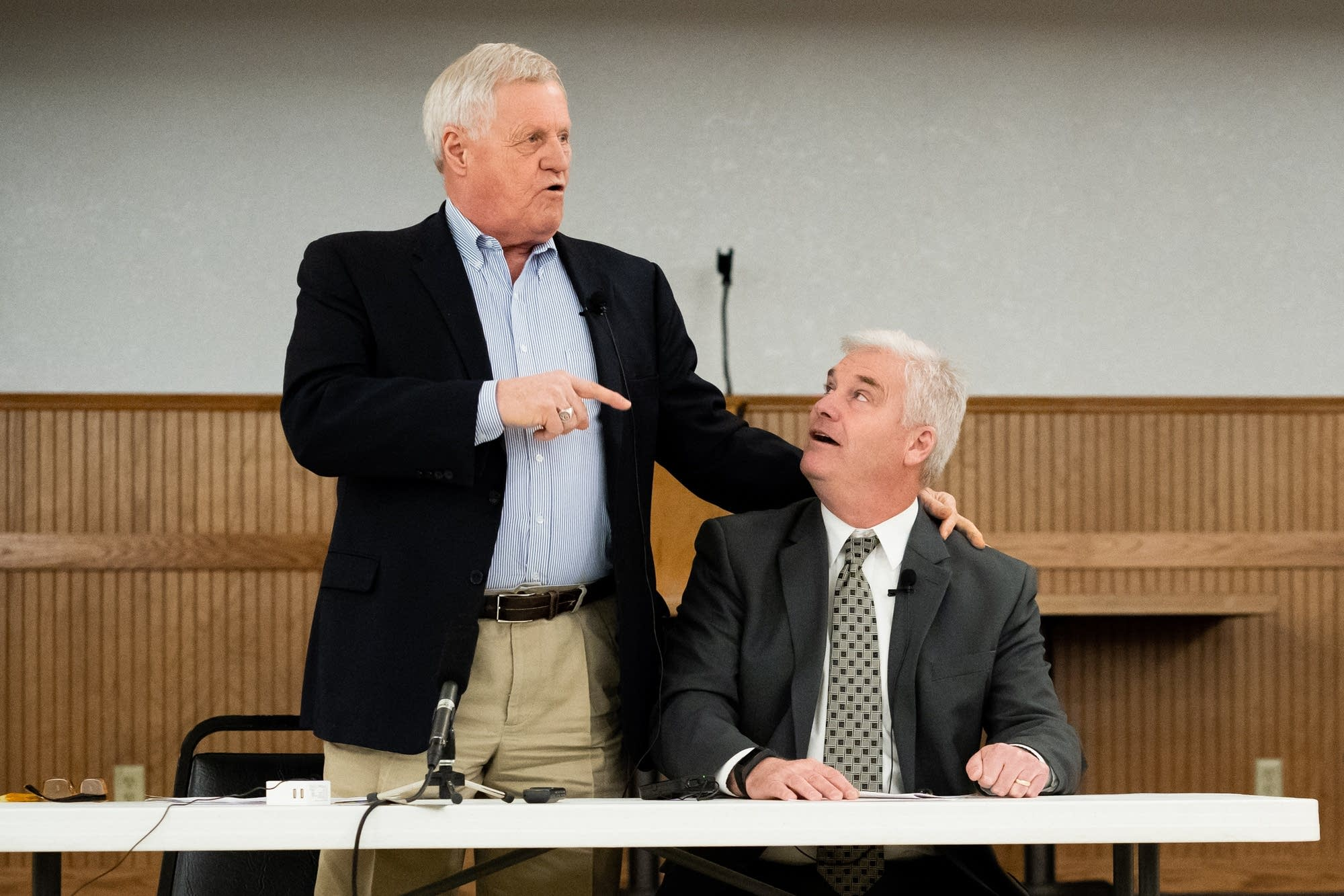 Rep. Collin Peterson, left, and Rep. Tom Emmer tell jokes