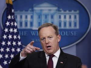 White House press sec. Sean Spicer speaks during a press briefing Thurs.