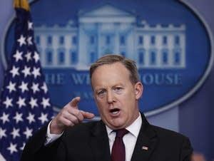 White House press sec. Sean Spicer speaks during a press briefing Thurs.