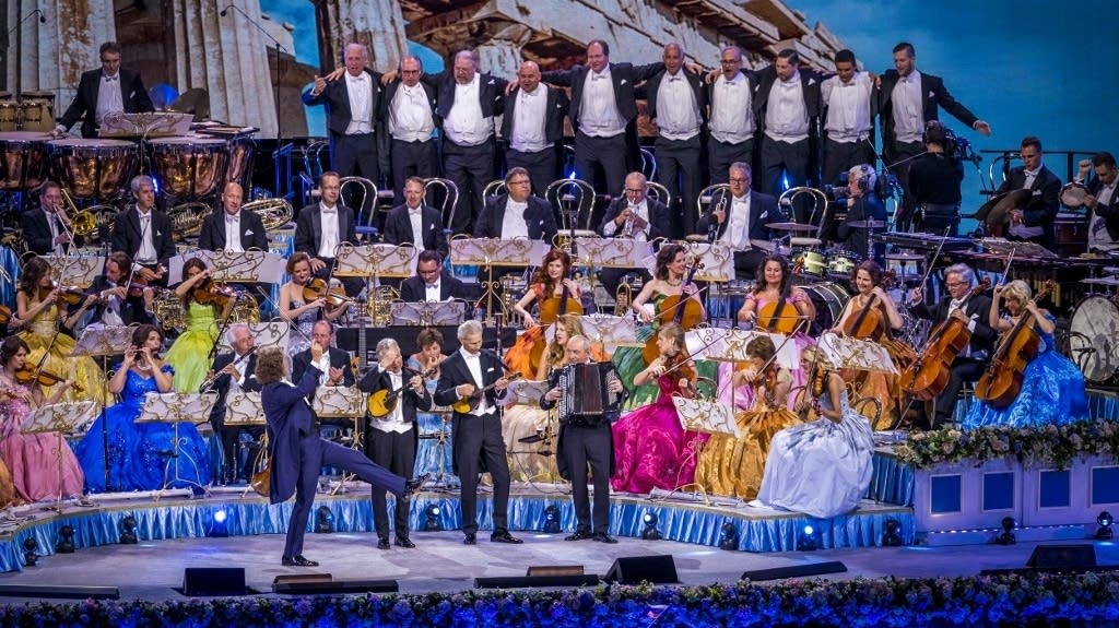 Andre Rieu and his orchestra perform at the Vrijthof Square