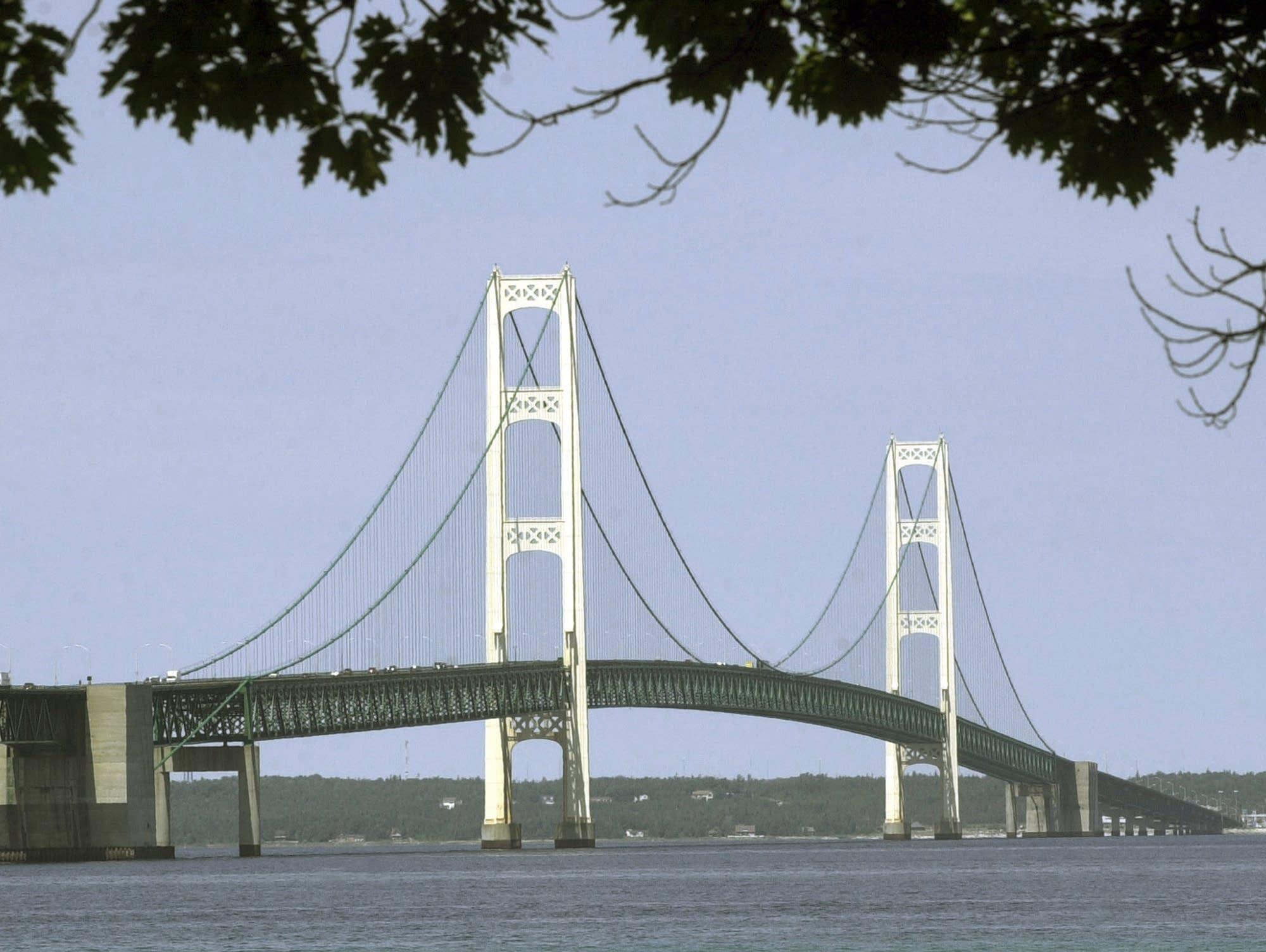 The Mackinac Bridge spans the Straits of Mackinac