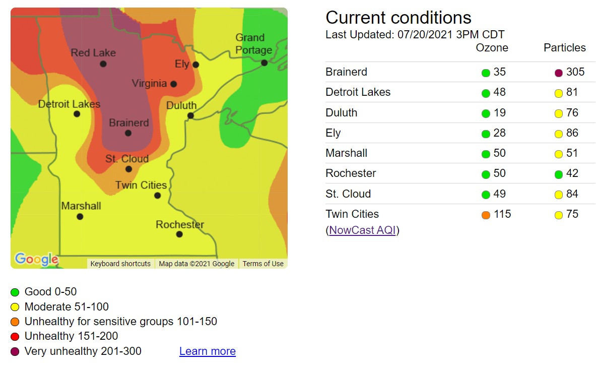 Air quality index at 3 pm Tuesday