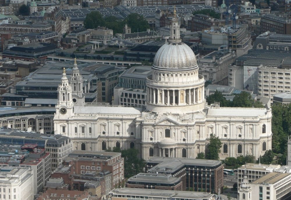 Aerial view of St Paul's Cathedral, London.