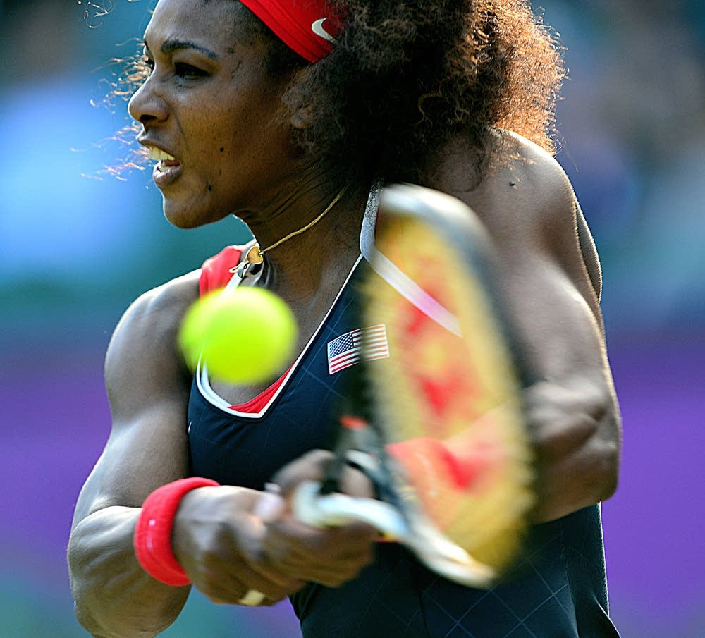 US player Serena Williams returns the ba