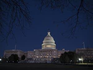 The Capitol is illuminated in Washington
