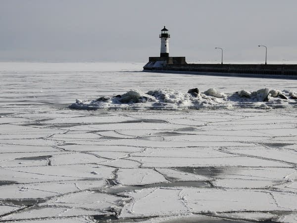 A patchwork ice pattern covers Lake Superior in Duluth