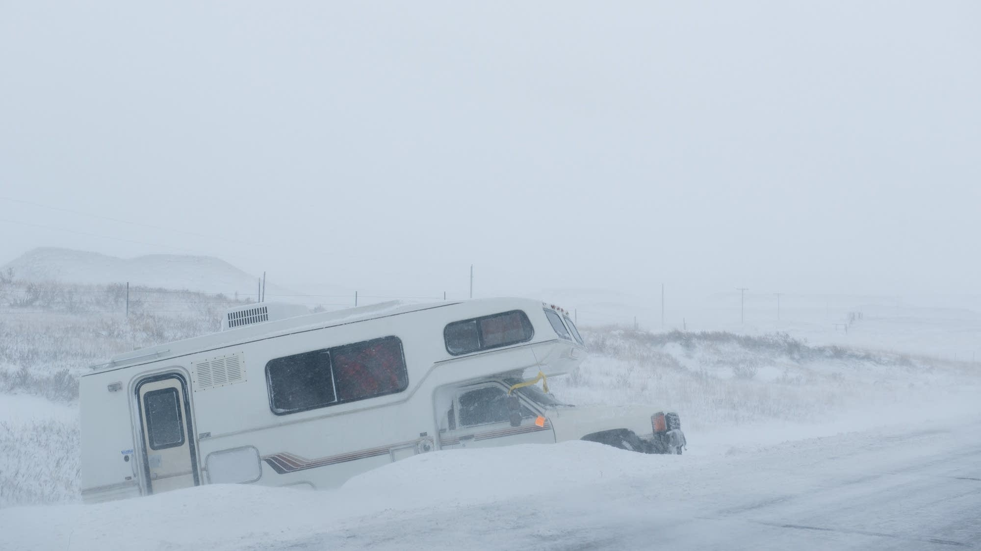 Blowing snow made driving hazardous along Route 6.