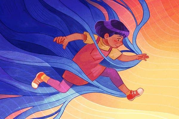 An illustration of a kid running.