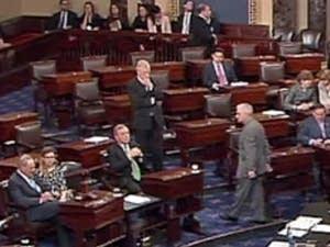 Floor of the Senate as legislators voted on a bill to hold off shutdown.