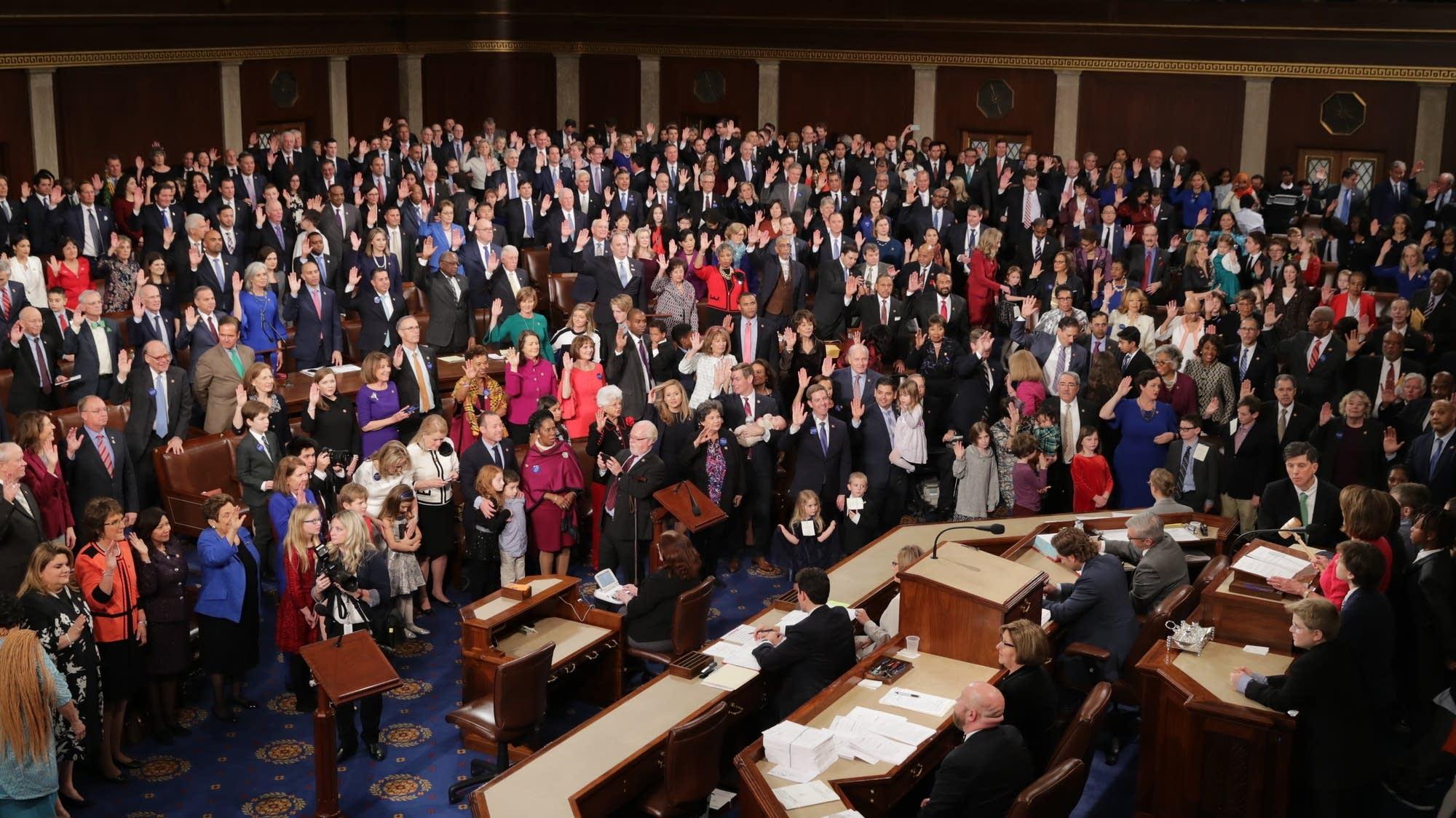House Speaker Nancy Pelosi swears in members