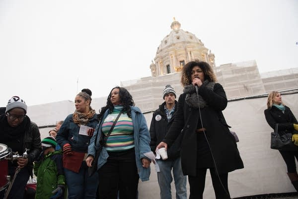 Mica Grimm, right, spoke at the MLK Day rally.