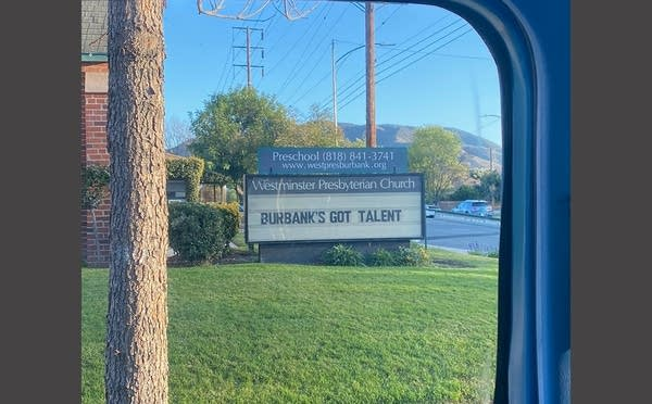 "Church sign says ""Burbank's Got Talent"""