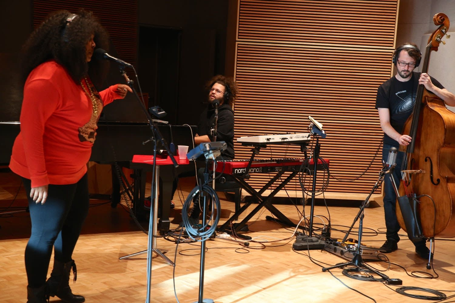 Lizzo performs in The Current studio 4
