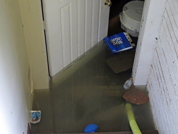 Flood water in Johanna Kittelson's basement