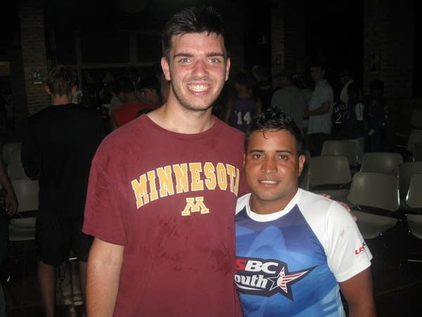 Chad Faust and a volunteer