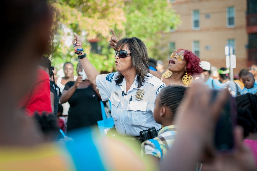 Police chief Janee Harteau danced with residents.