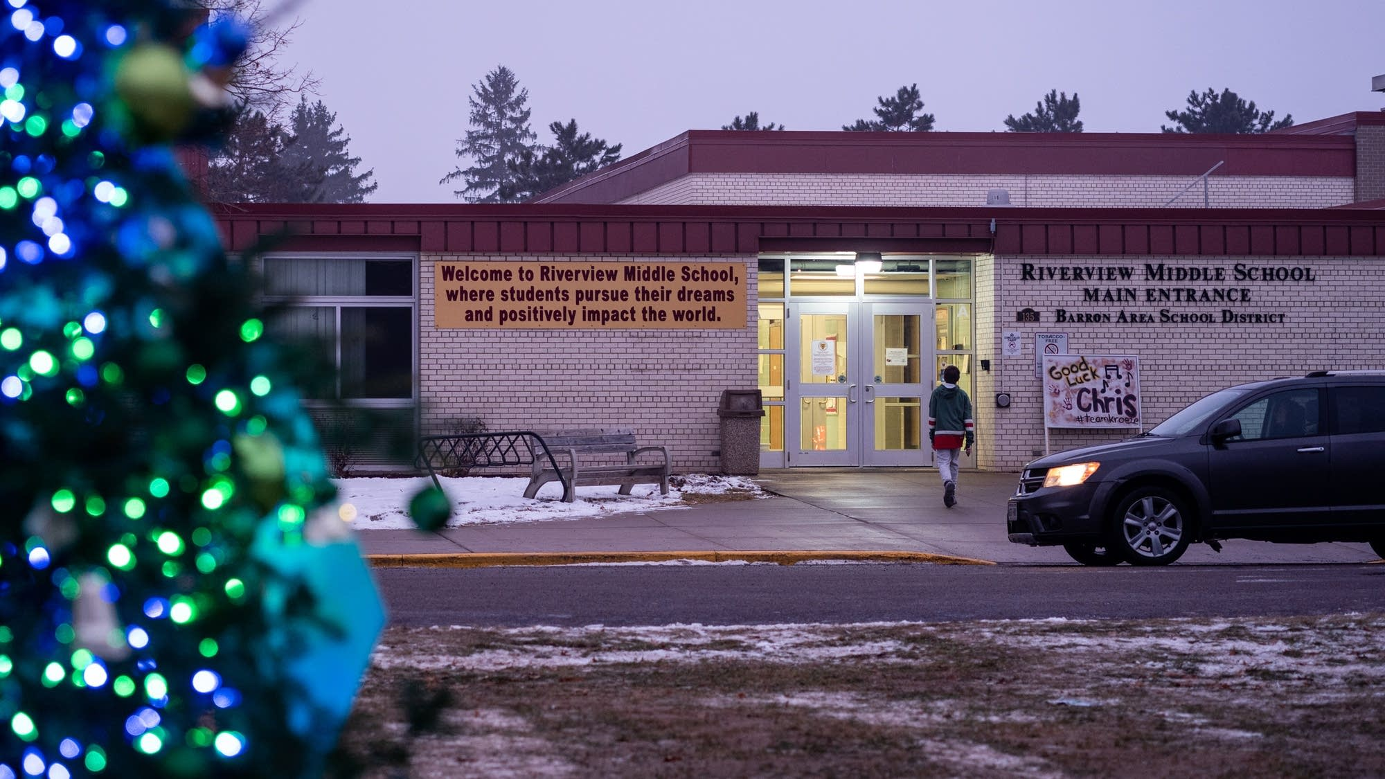A student enters Riverview Middle School in Barron, Wis.