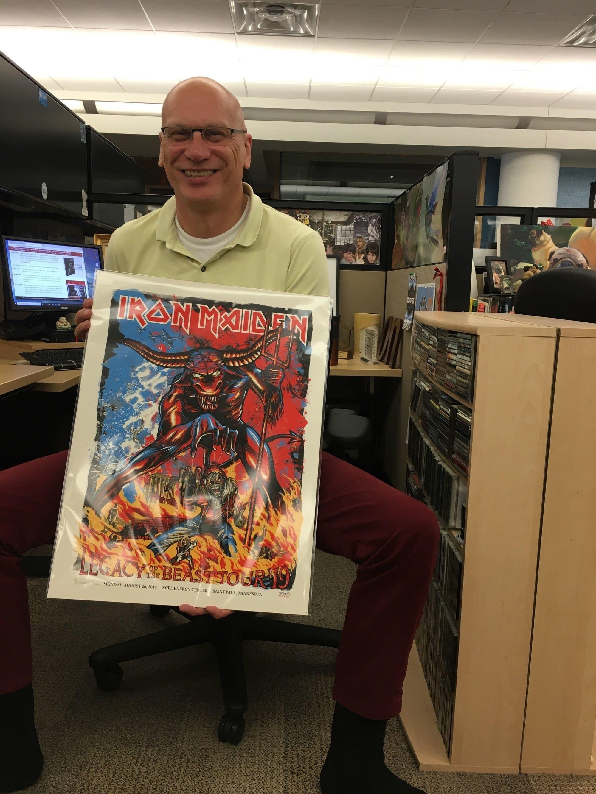 Mark Wheat with signed Adam Turman - Iron Maiden poster