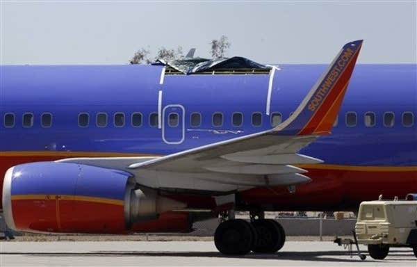 Damaged Southwest plane