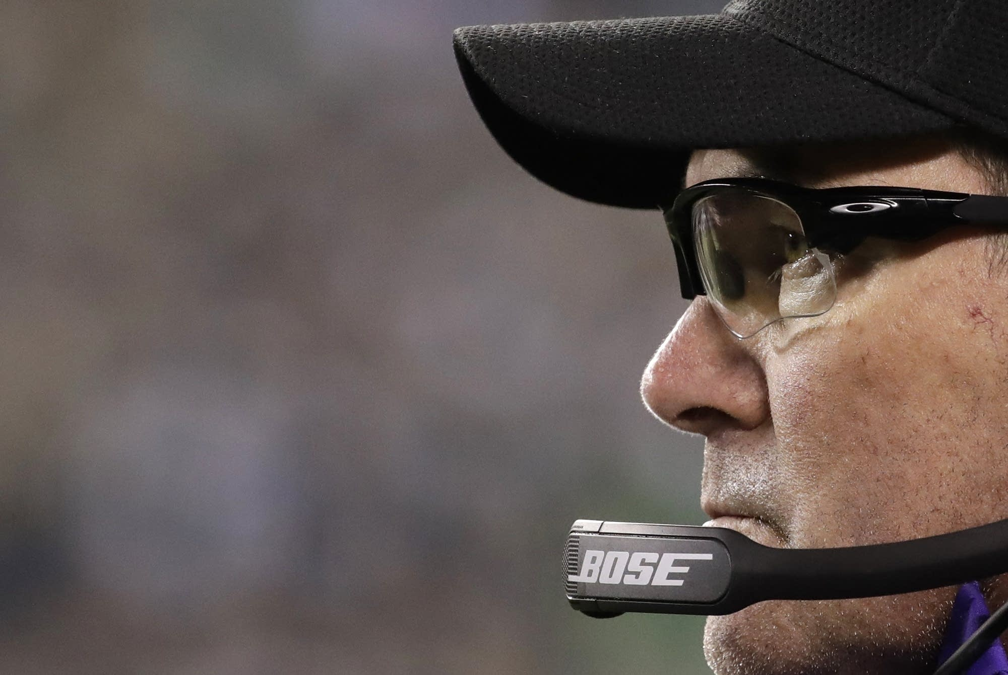 Vikings head coach Mike Zimmer watches during the second half.