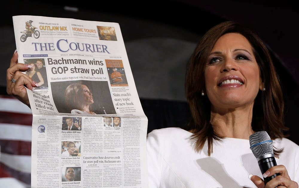 Bachmann celebrates Iowa win