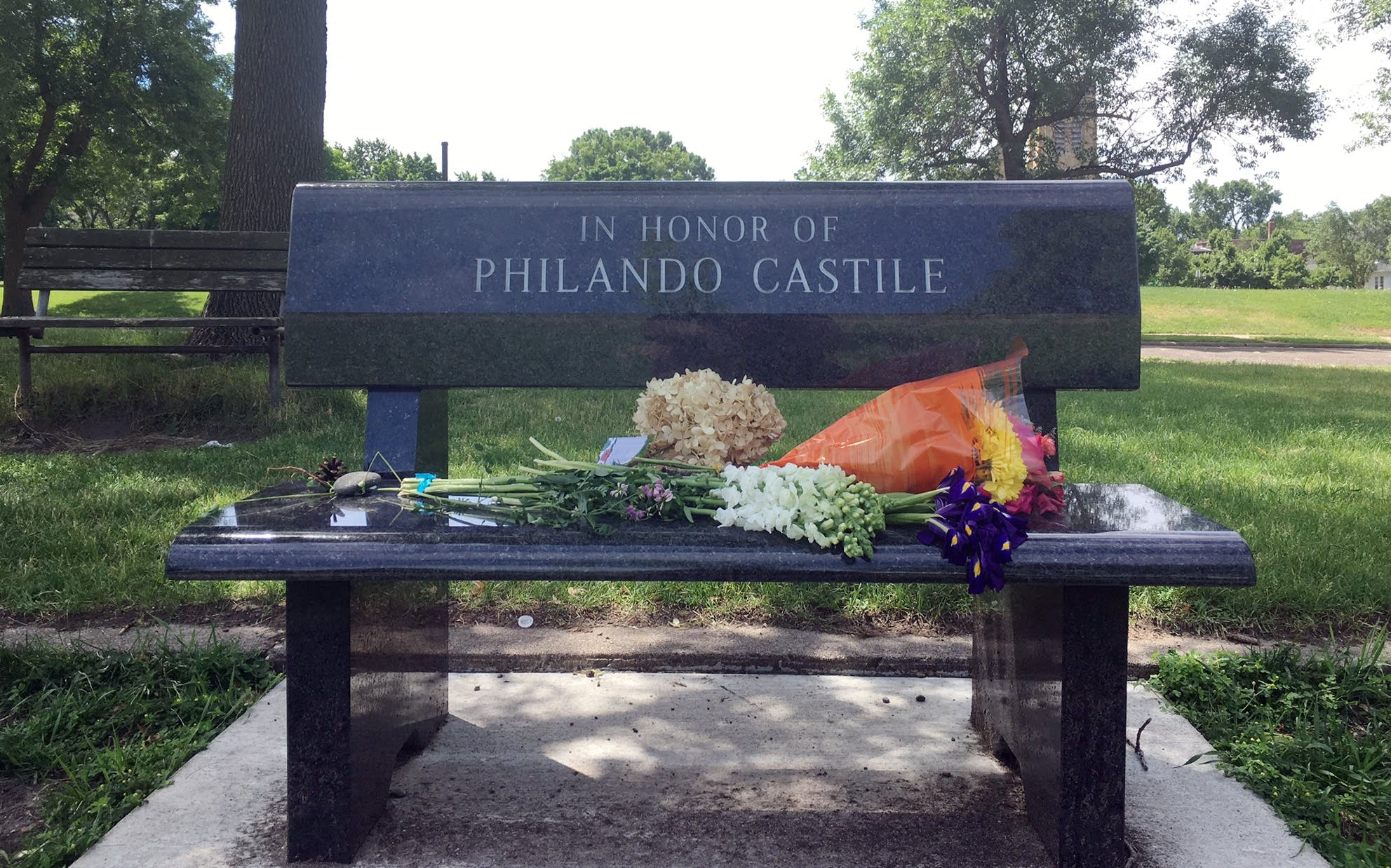 Memorials were left Saturday morning at J.J. Hill Elementary.