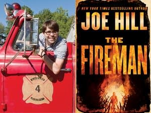 "Author Joe Hill, left, and ""The Fireman"""