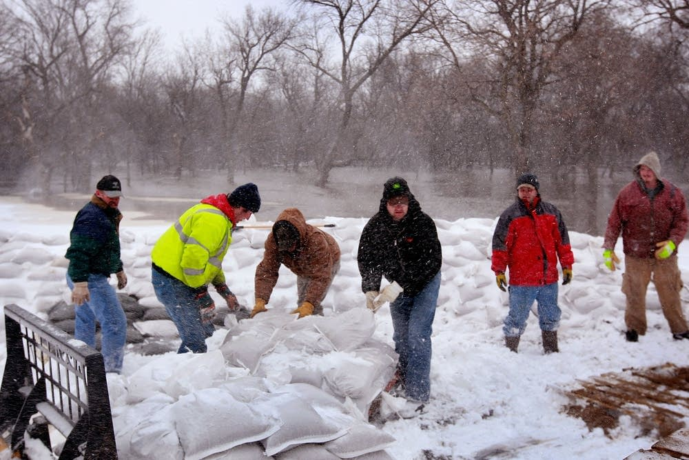 Building a levee in the snow