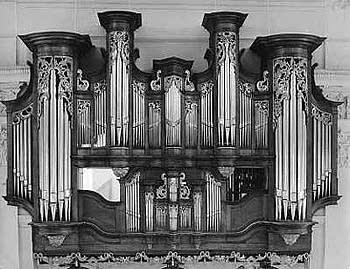 1745 Stumm organ at the Pauluskirche, Kirchheimbolanden, Germany