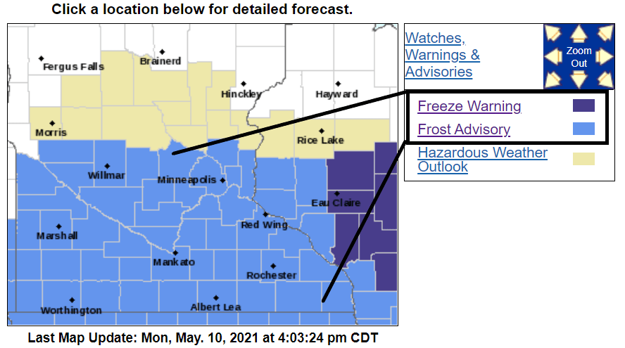 Frost and freeze advisories.