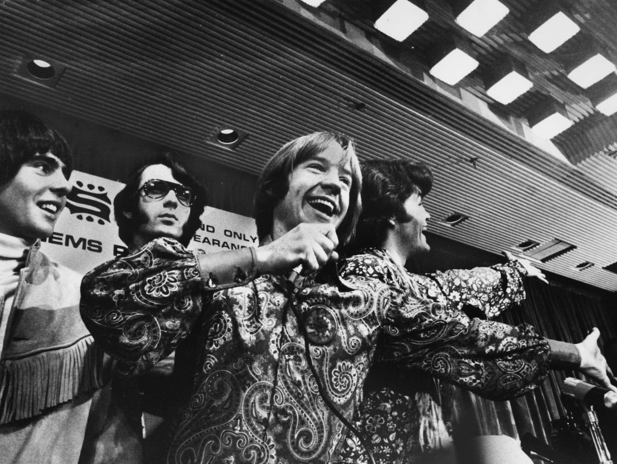 Peter Tork takes the mic with the Monkees in London, 1967.
