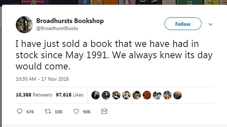 A bookstore sold a book that had been sitting in its shop since 1991.