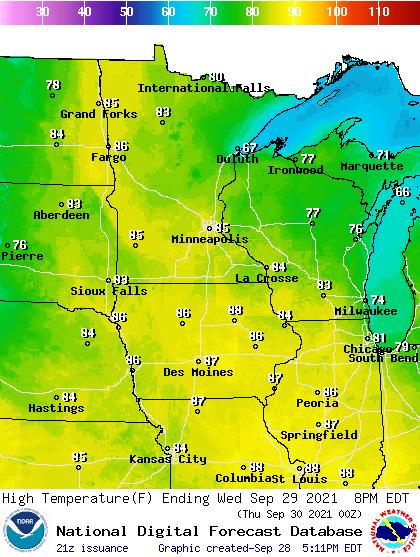 Forecast high temperatures Wednesday