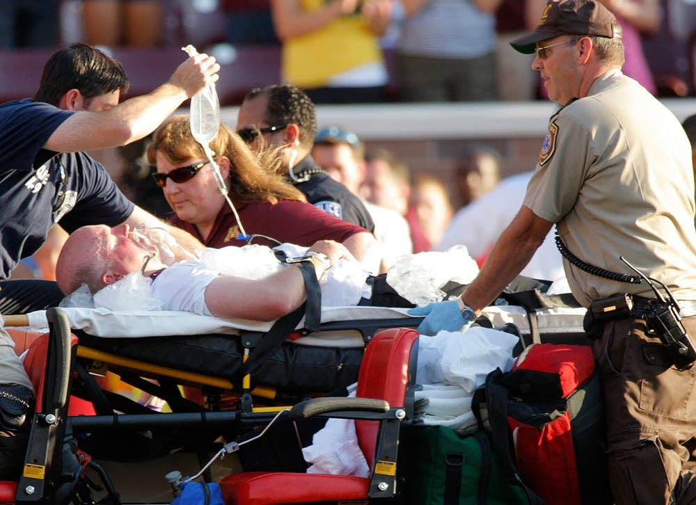 Coach Kill on stretcher