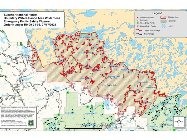 A map of the Boundary Waters