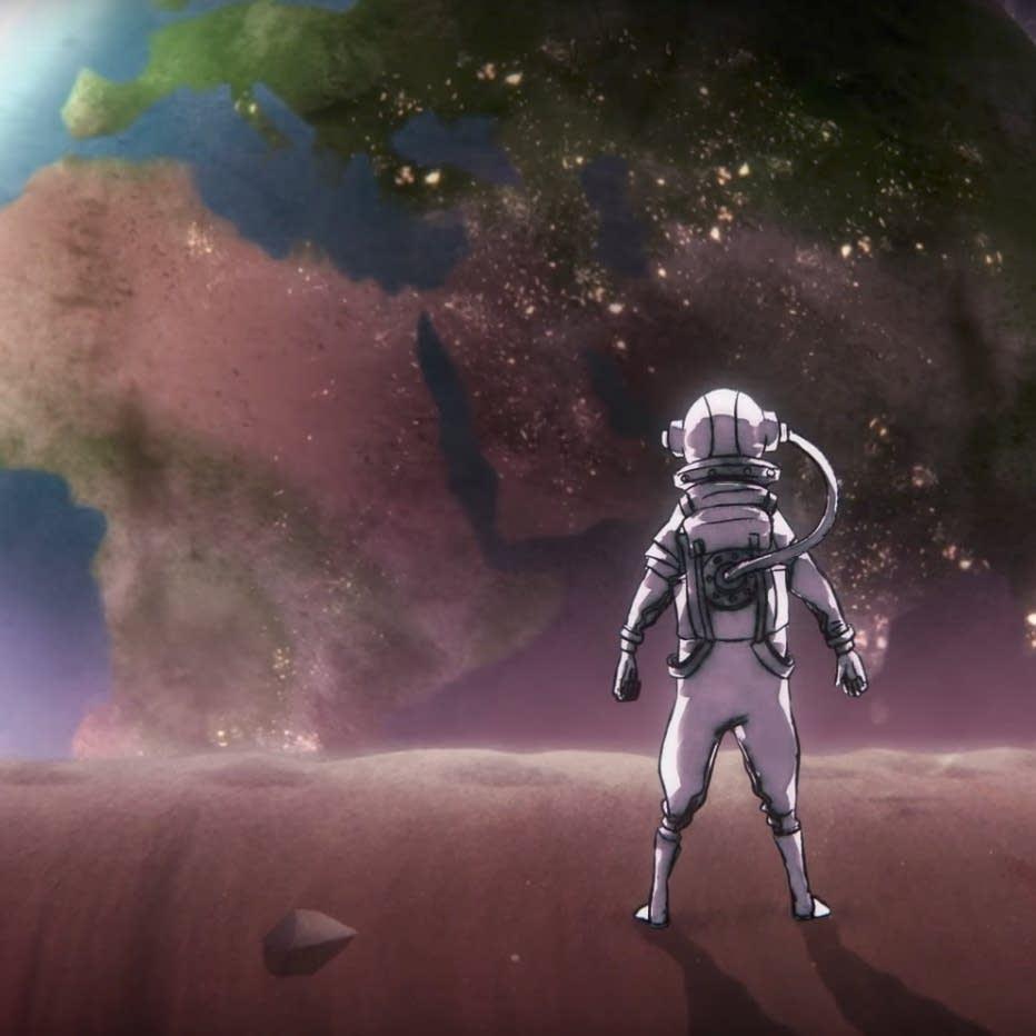 A still from Majid Adin's 'Rocket Man' video