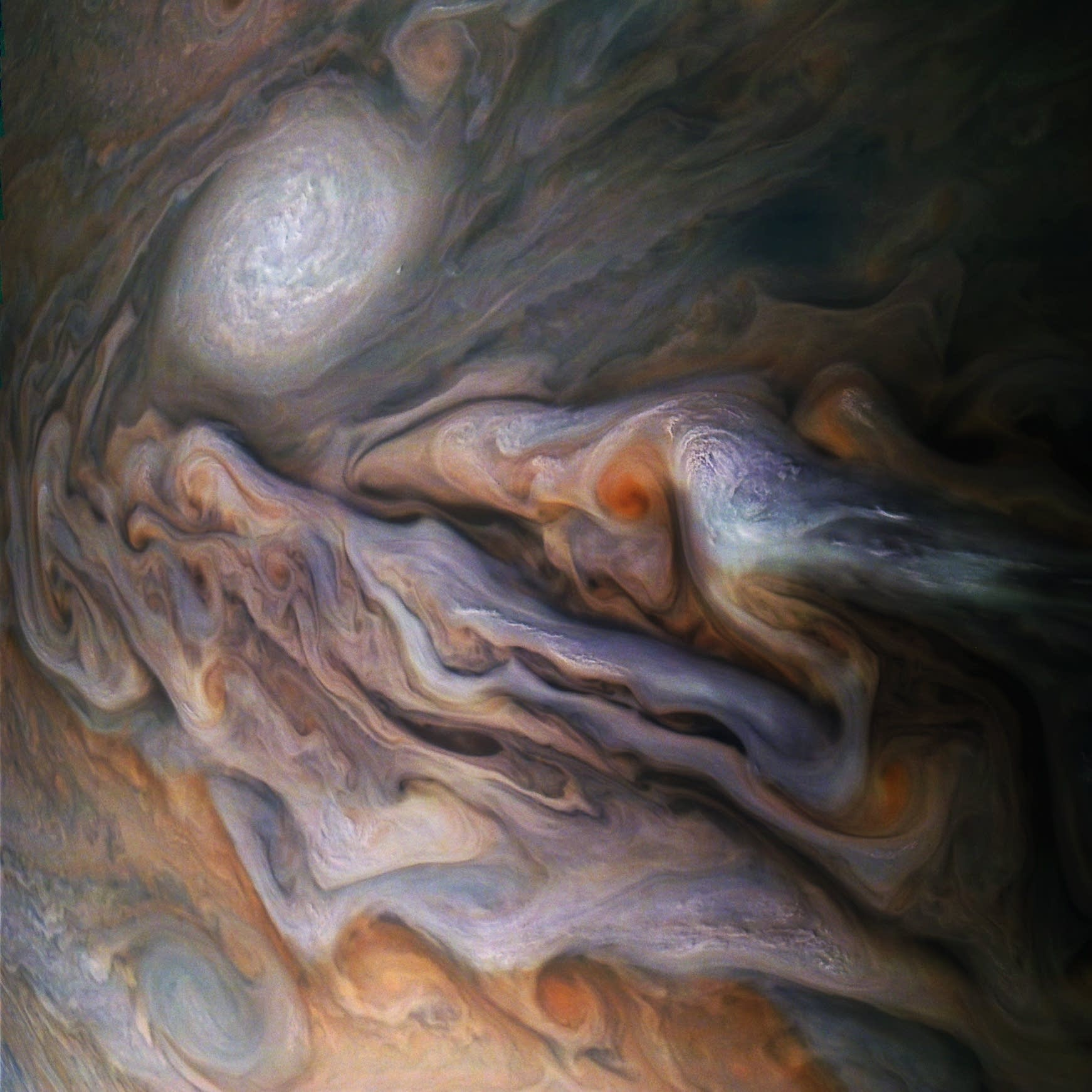 Color enhanced swirling clouds in Jupiter's dynamic atmosphere