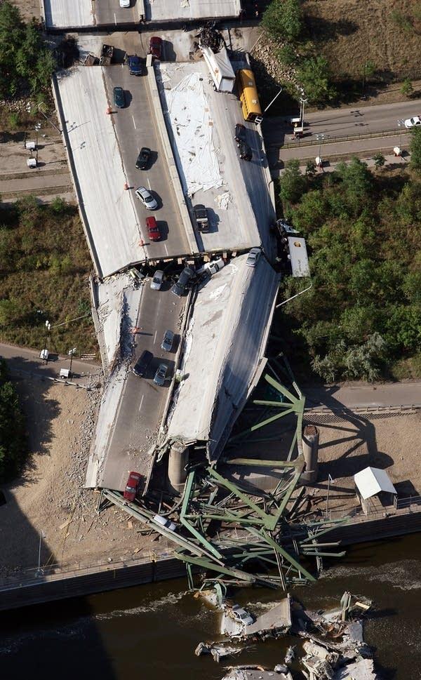 Major Freeway Bridge Collapses In Minneapolis