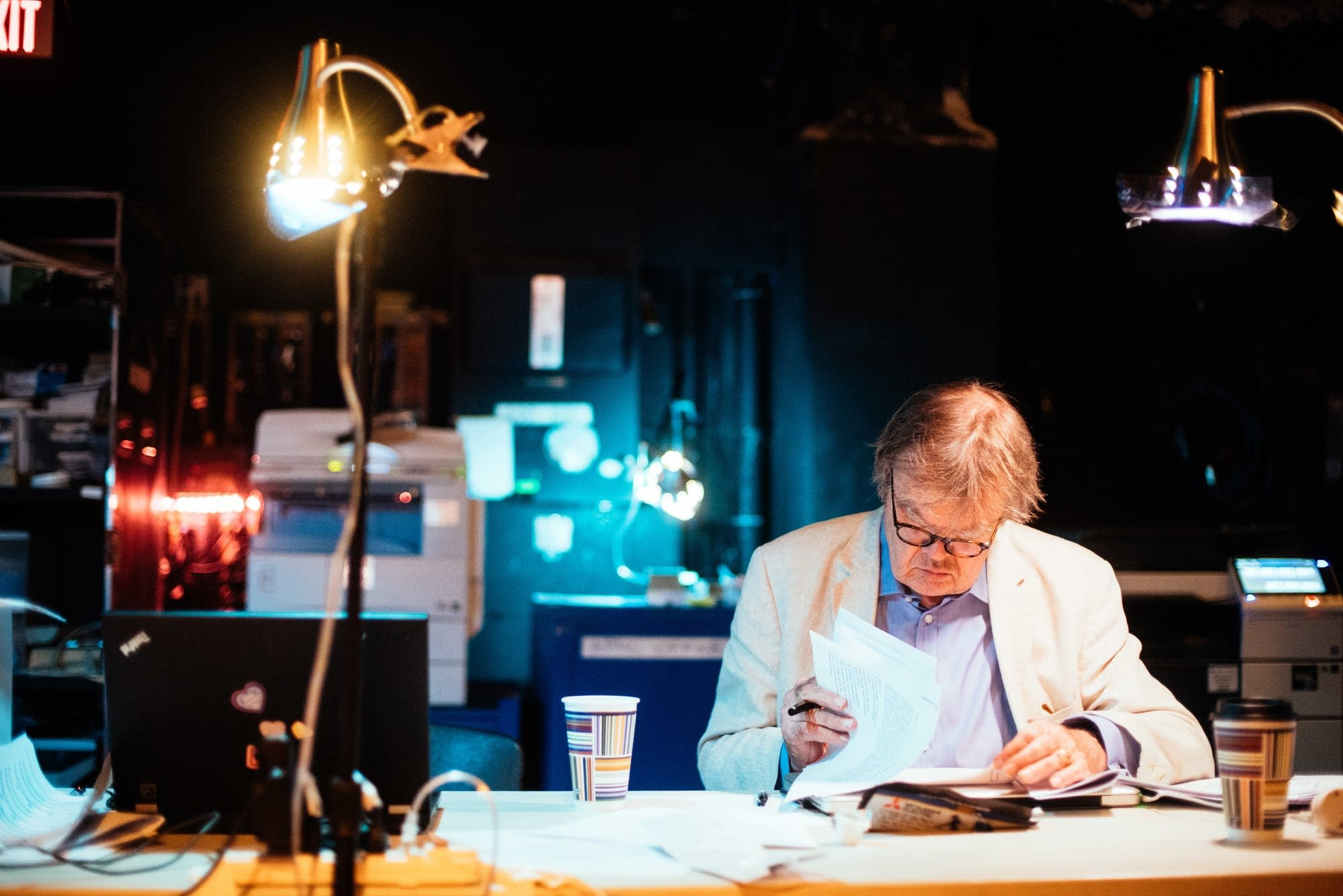 Garrison Keillor looks through the script the State Theater in 2016.