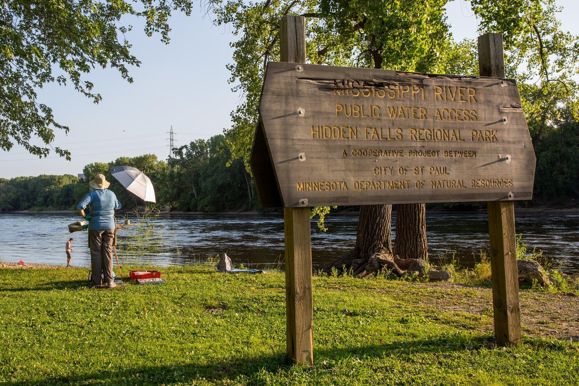 A painter at Hidden Falls Regional Park