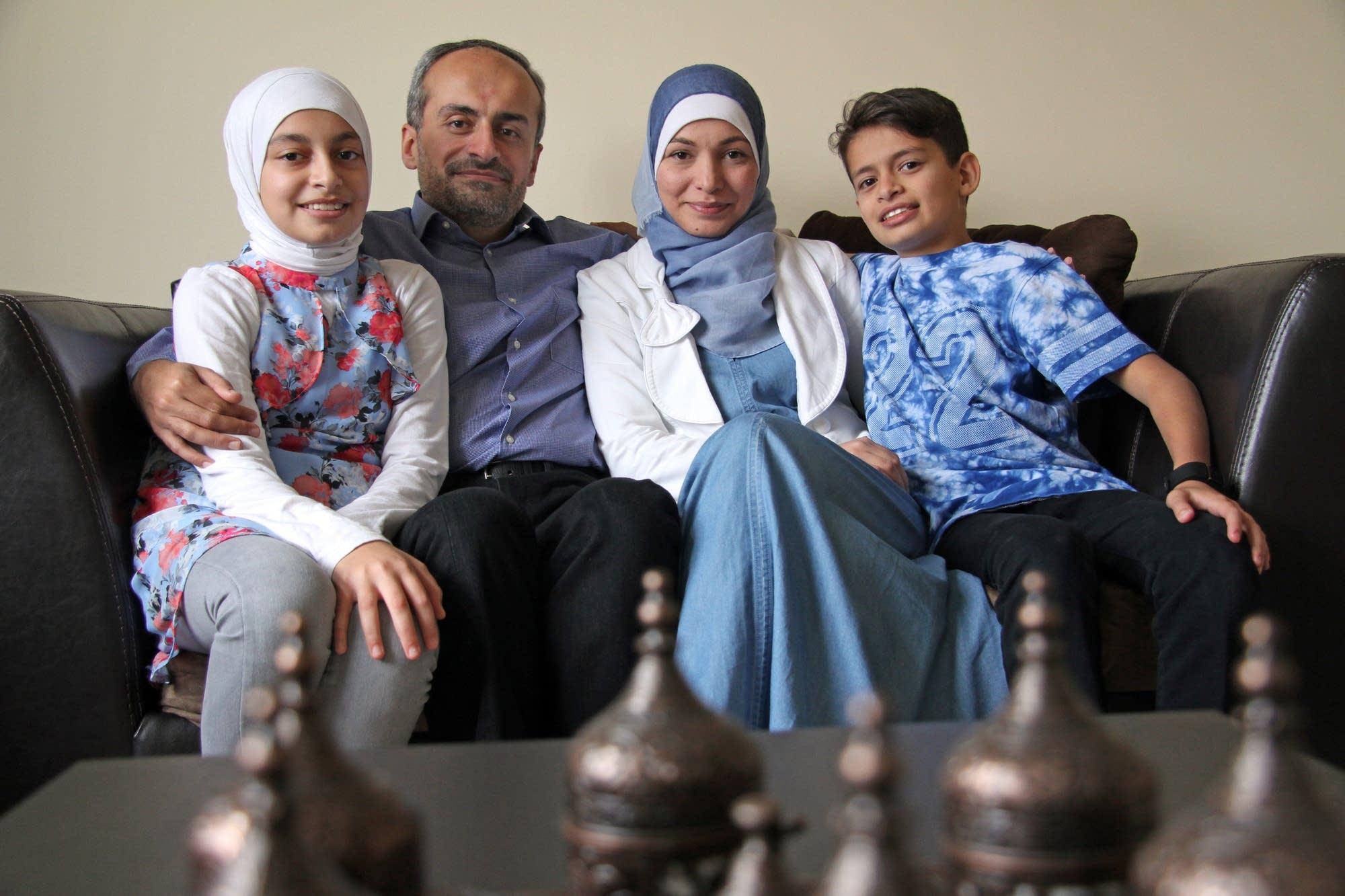 Aya, 13, Shadi Anis, Ranim Alchaar, and Abdullah, 11, feel welcome.