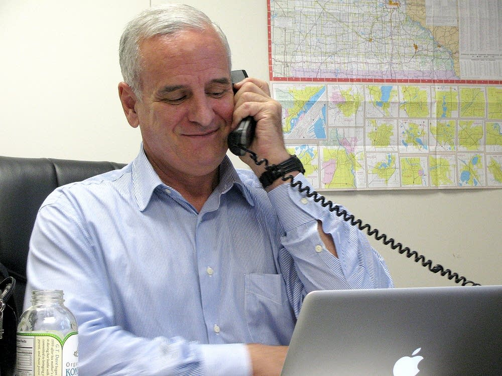 Mark Dayton at his campaign office