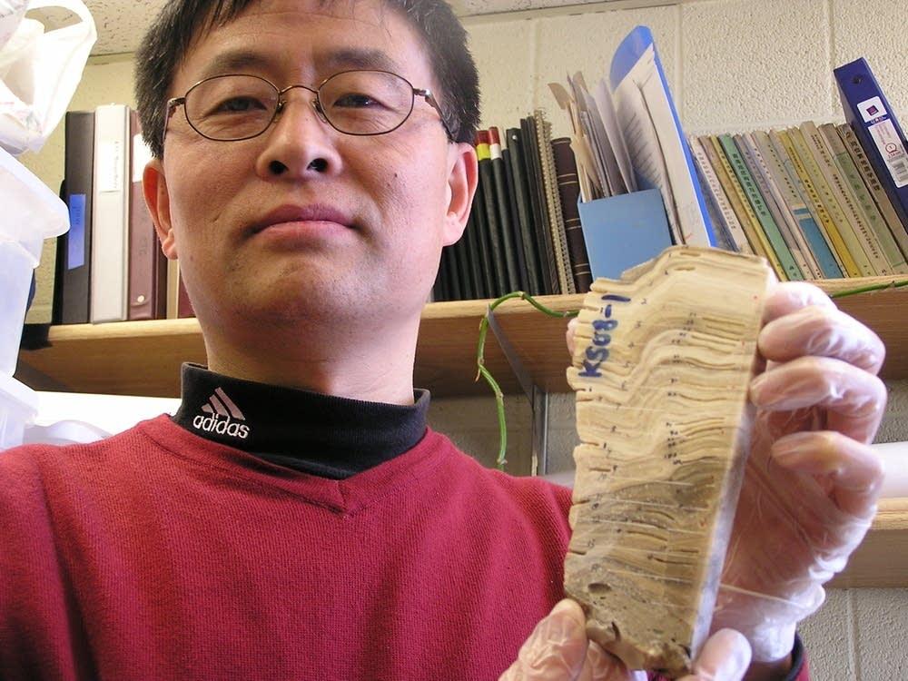 A stalagmite sample